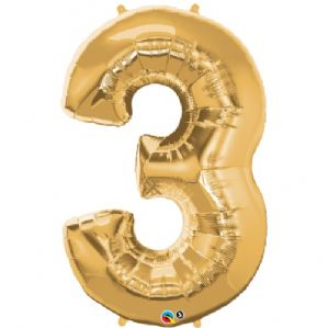 Gold Number 3 Balloon - Qualatex Number Balloon | Free Delivery